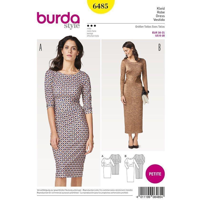 Kleid, Burda 6485 | Kurzgrößen 16 21