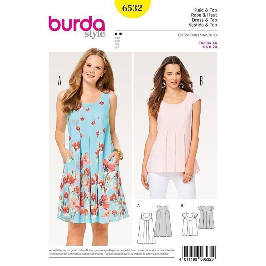 Qualität online zu verkaufen Neuestes Design Hänger-Kleid - Top, Burda 6532 | 34 - 46