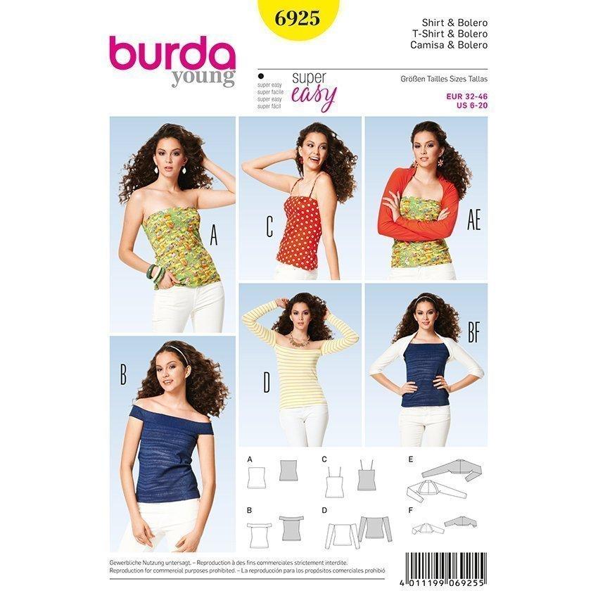 Shirt Top - Bolero, Burda 6925 | 32 - 46 | Stoffpalast