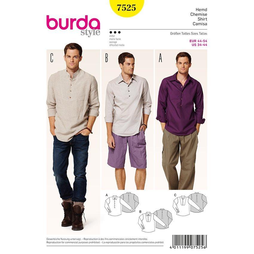 Hemd, Burda 7525   44 - 54   Stoffpalast