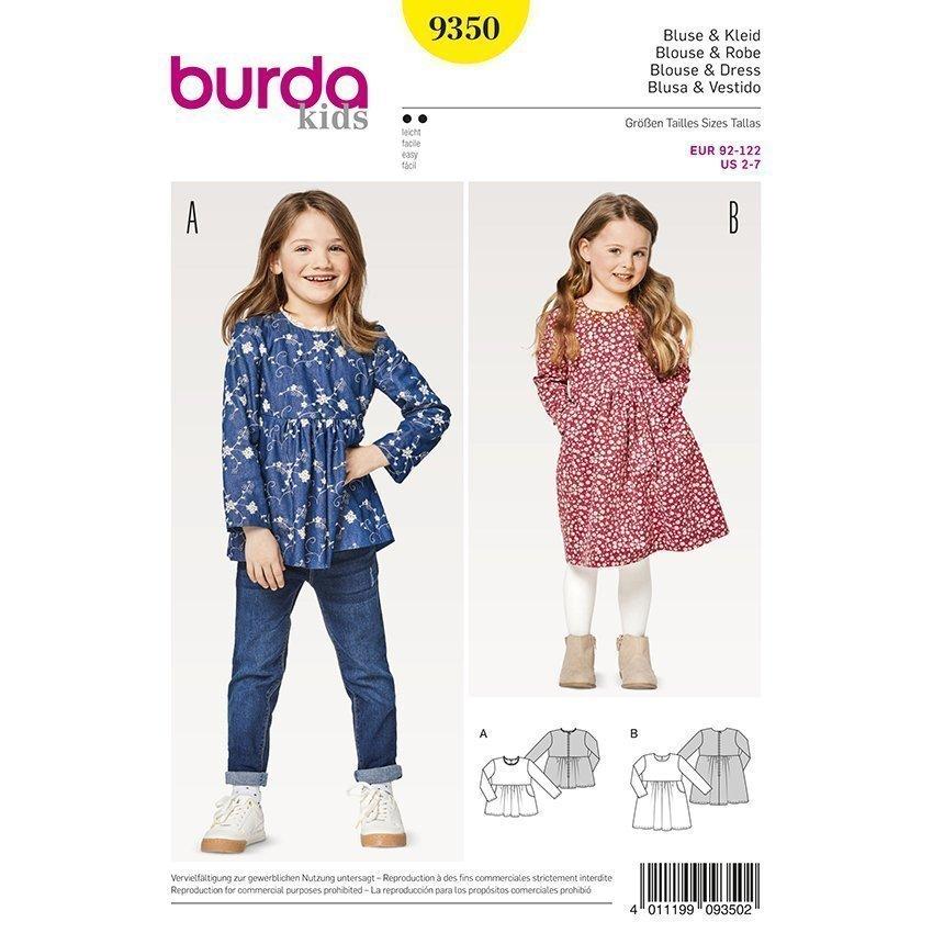 Bluse - Kleid, Burda 9350 | 92 - 122 | Stoffpalast