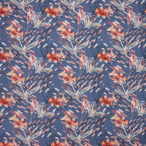 Baumwolljersey Blumen blau frontal