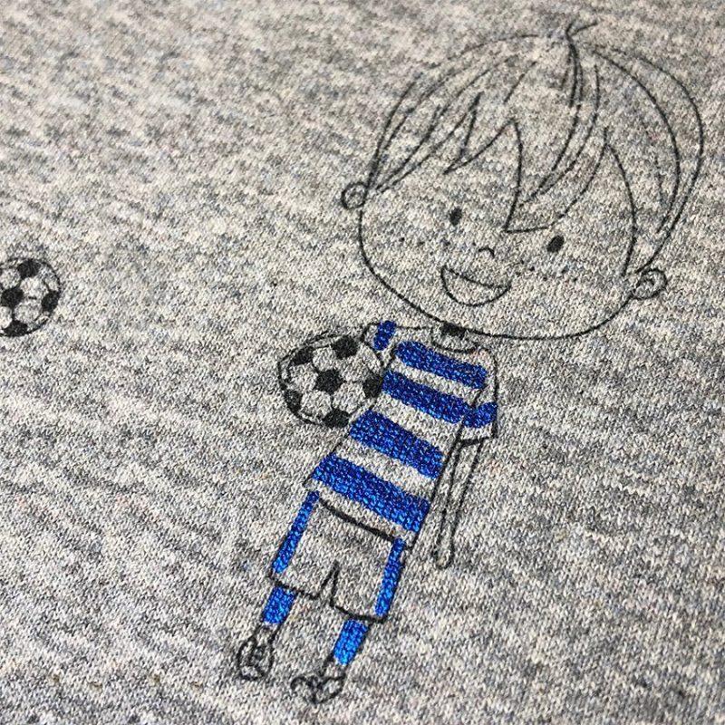 Detailansicht Kinderjersey Glitzer Fussballer